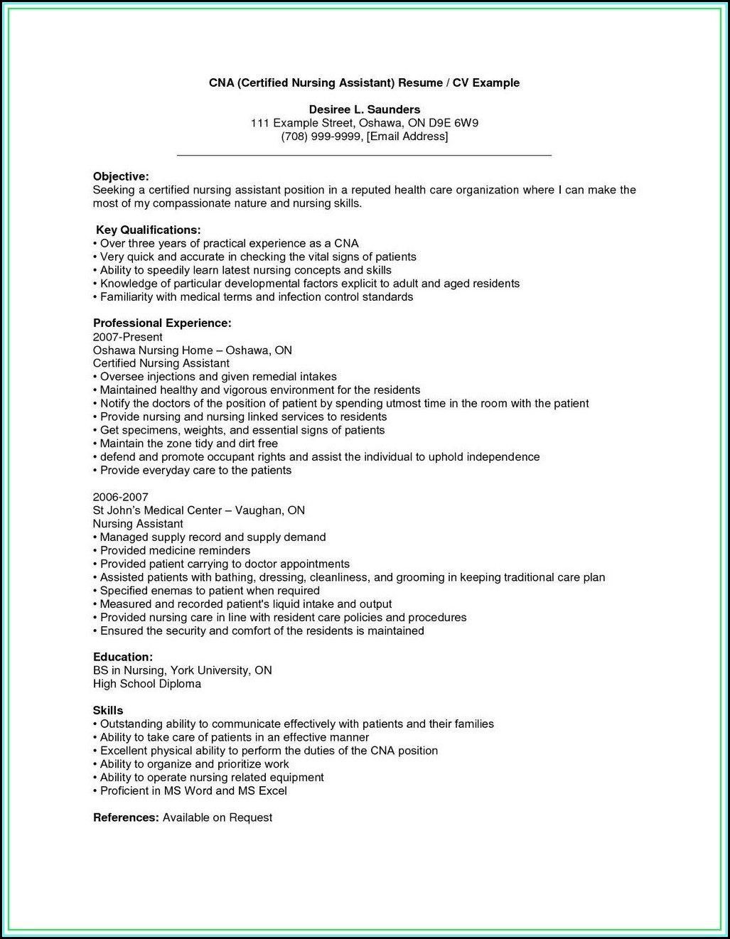 Sample Resume For Nursing Assistant With No Experience