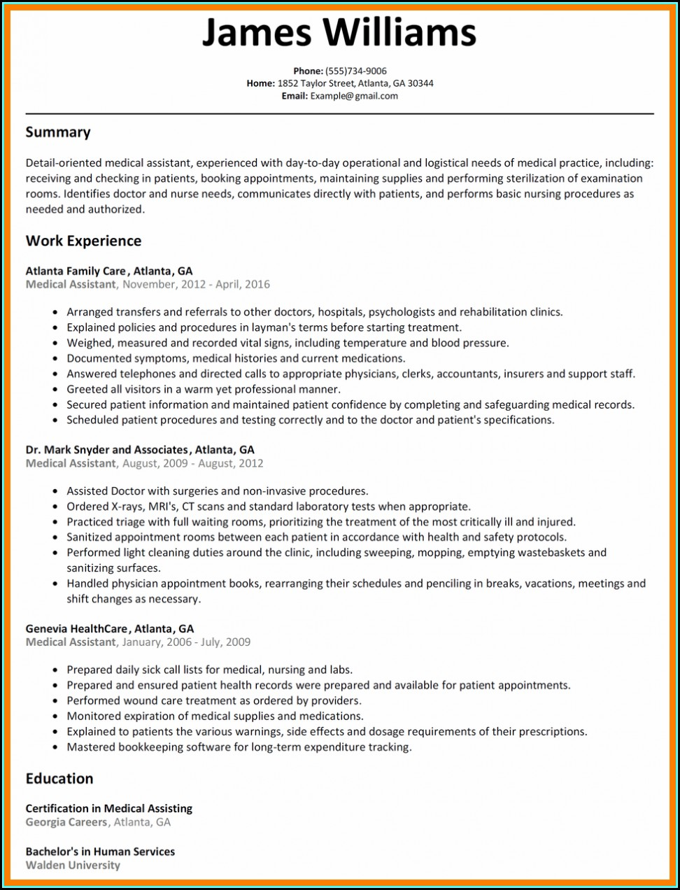 Sample Resume Objective For Nursing Assistant