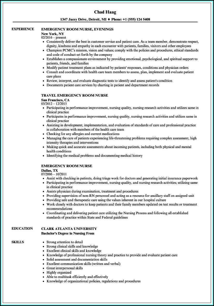 Sample Rn Resume 1 Year Experience
