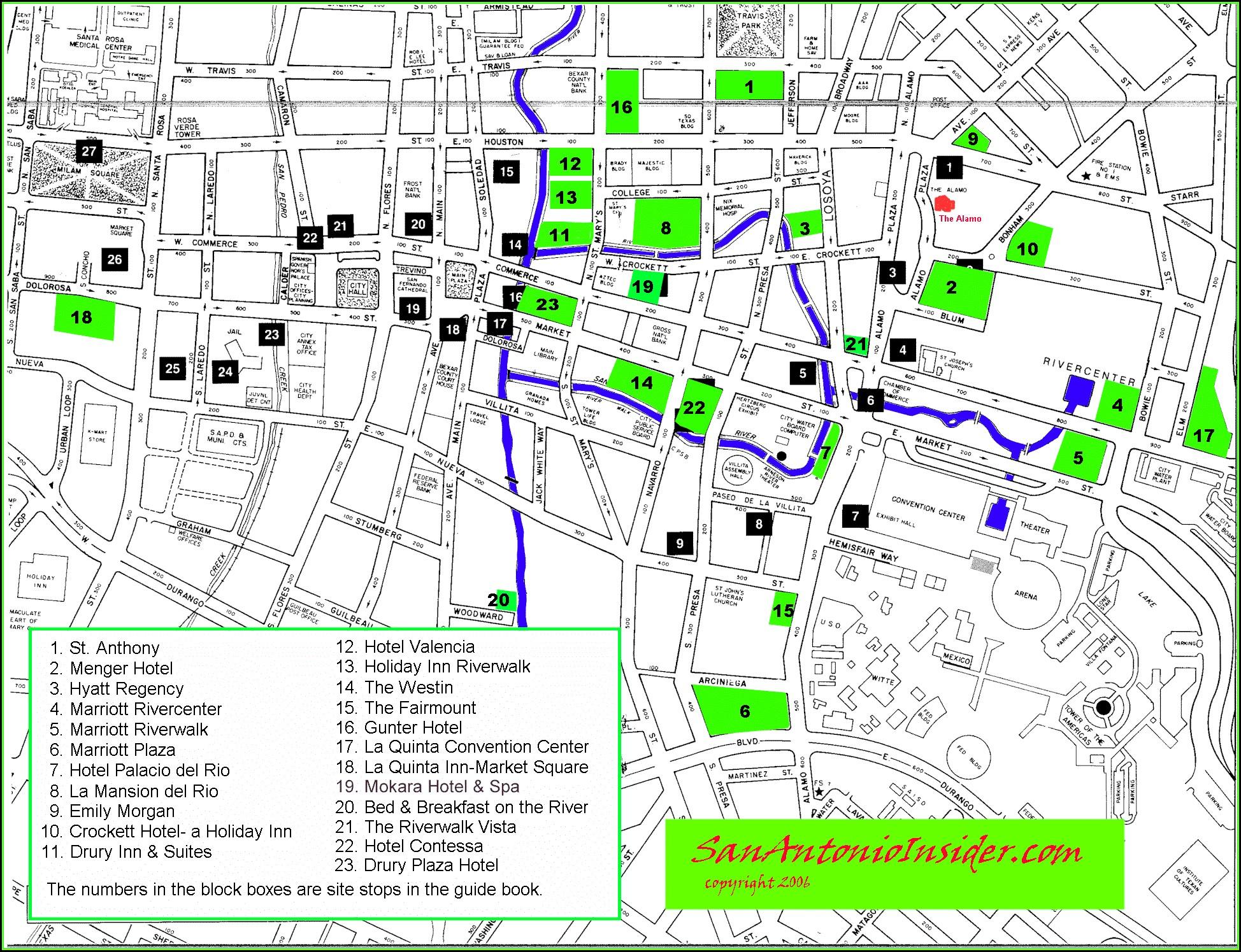 San Antonio Hotel Map Riverwalk