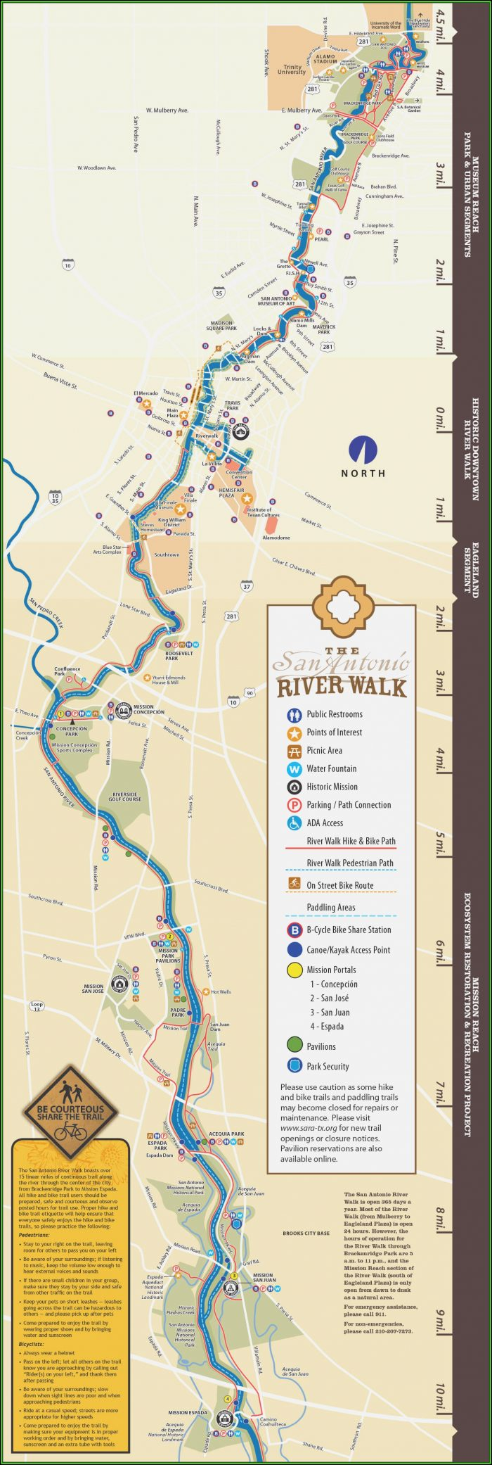 San Antonio Riverwalk Map Hotels Restaurants