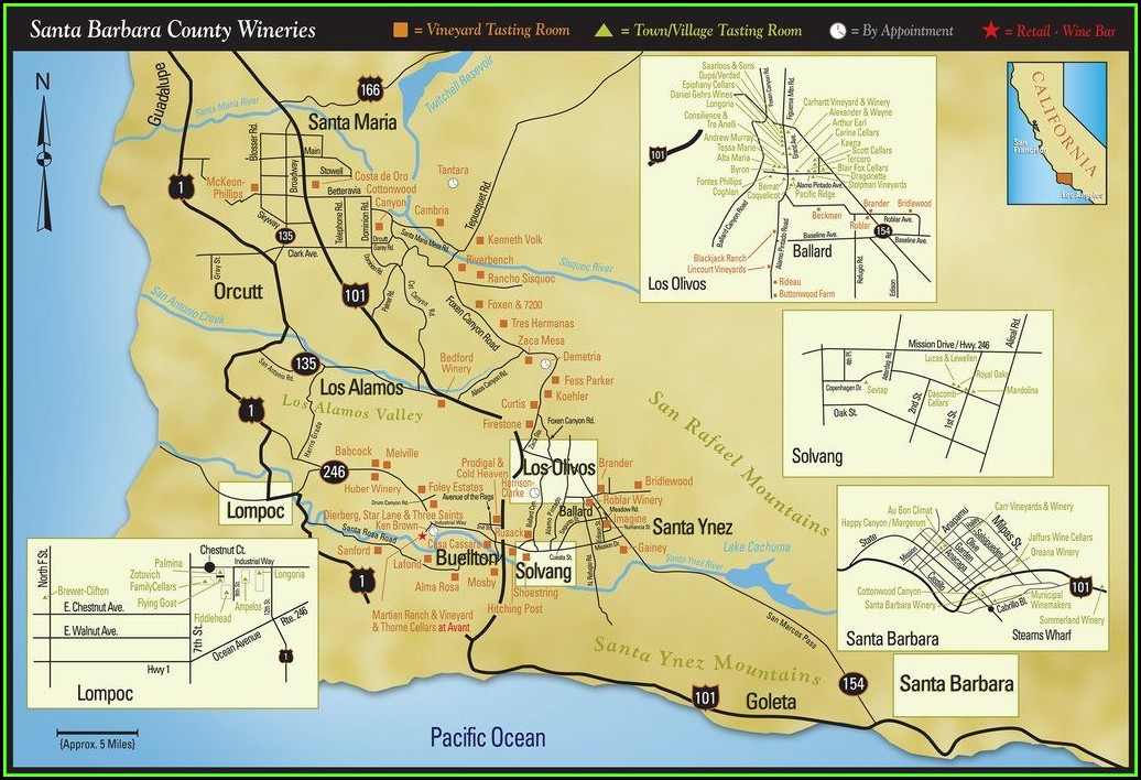 Santa Barbara County Wine Map