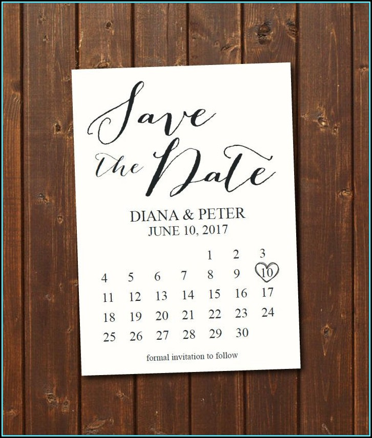 Save The Date Calendar Template