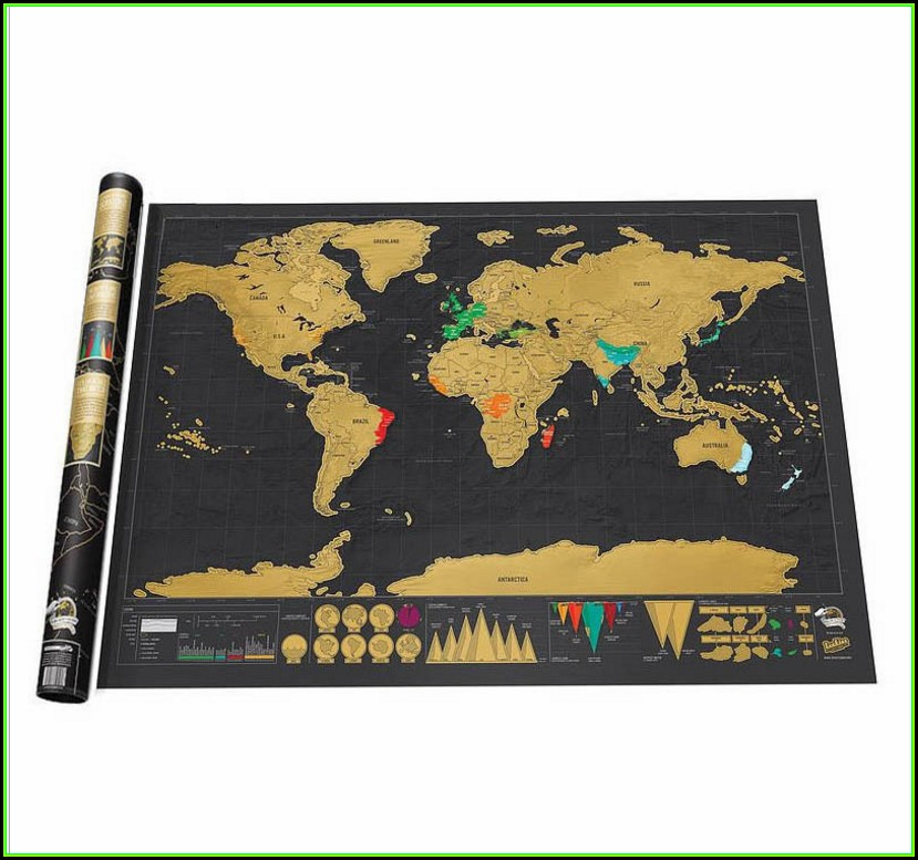 Scratch Map Of The World Black
