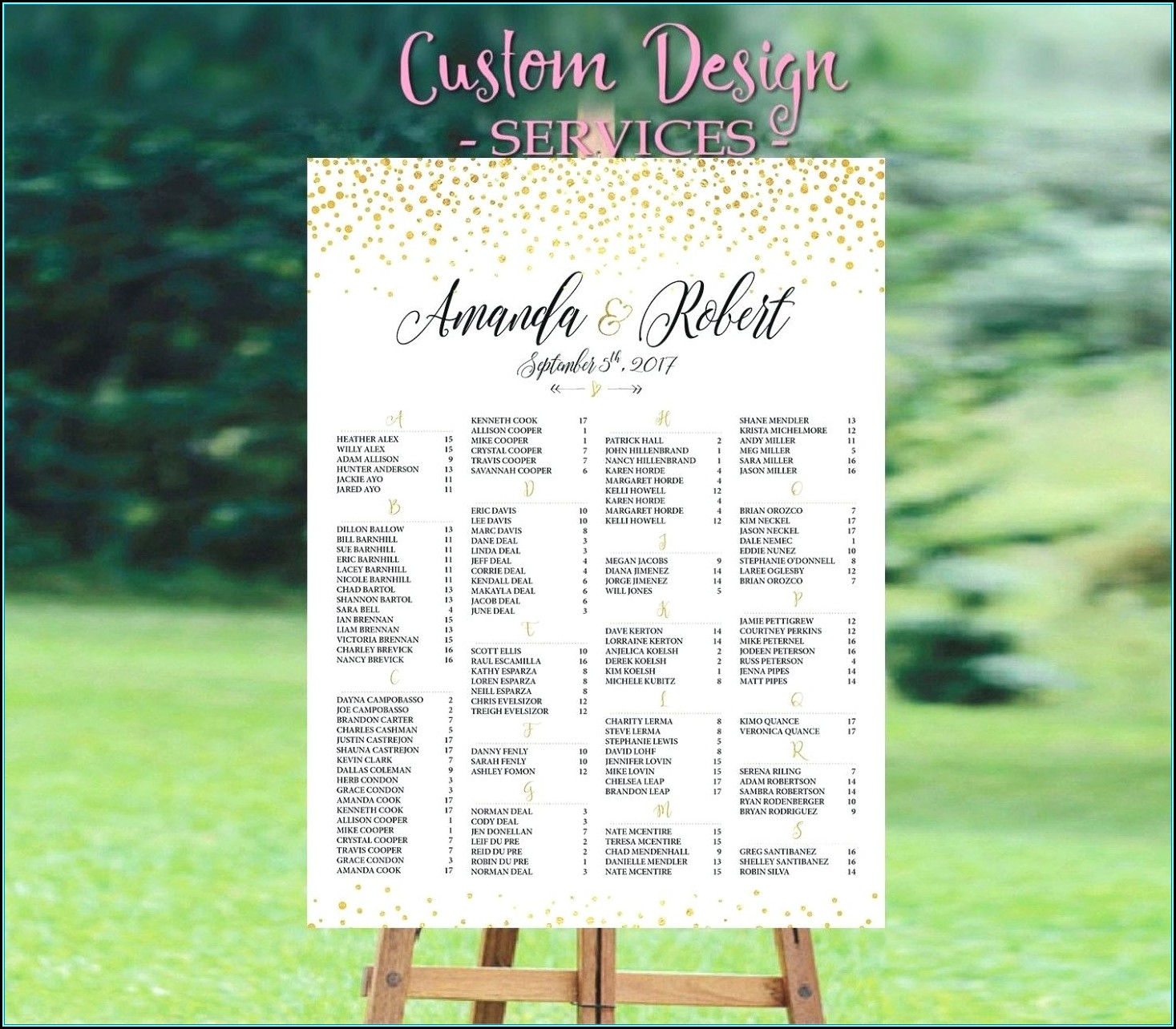 Seating Chart Poster For Wedding Reception Template
