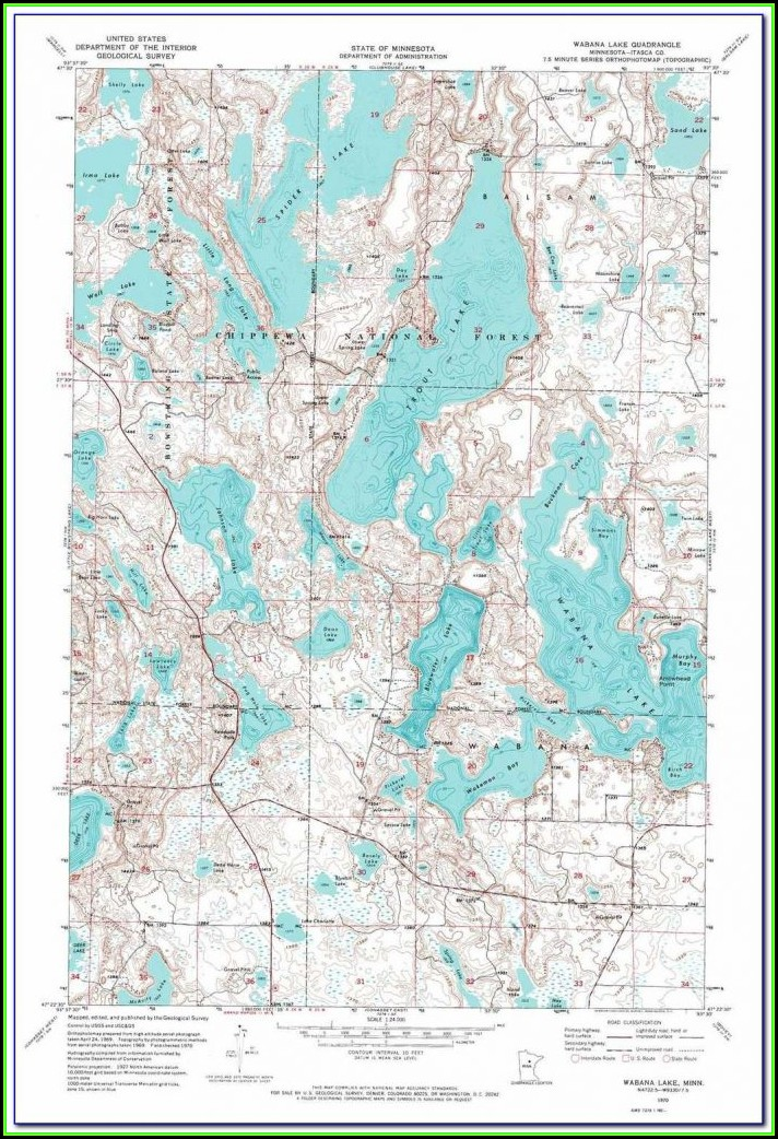Sebago Lake Contour Map