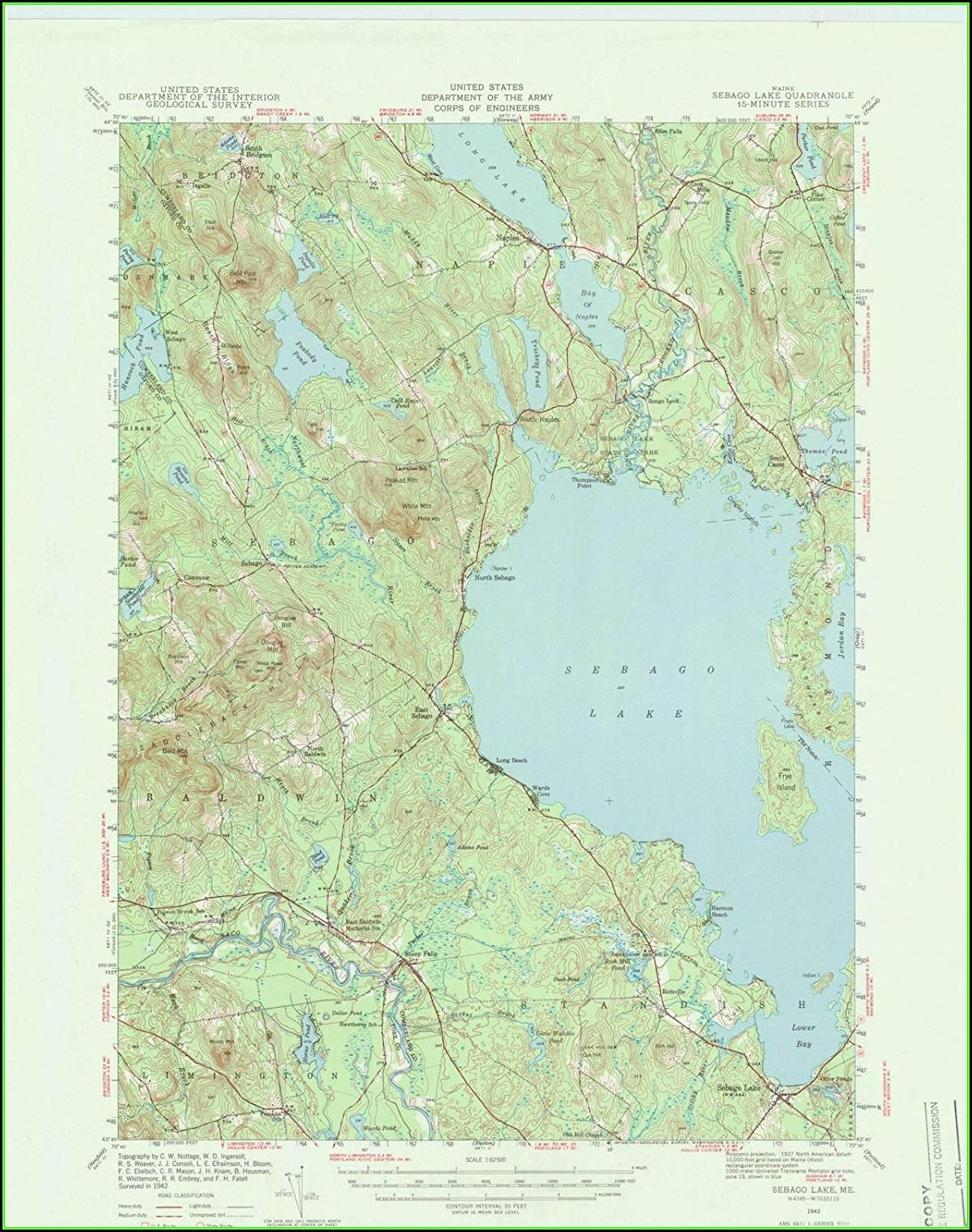 Sebago Lake Topographic Map