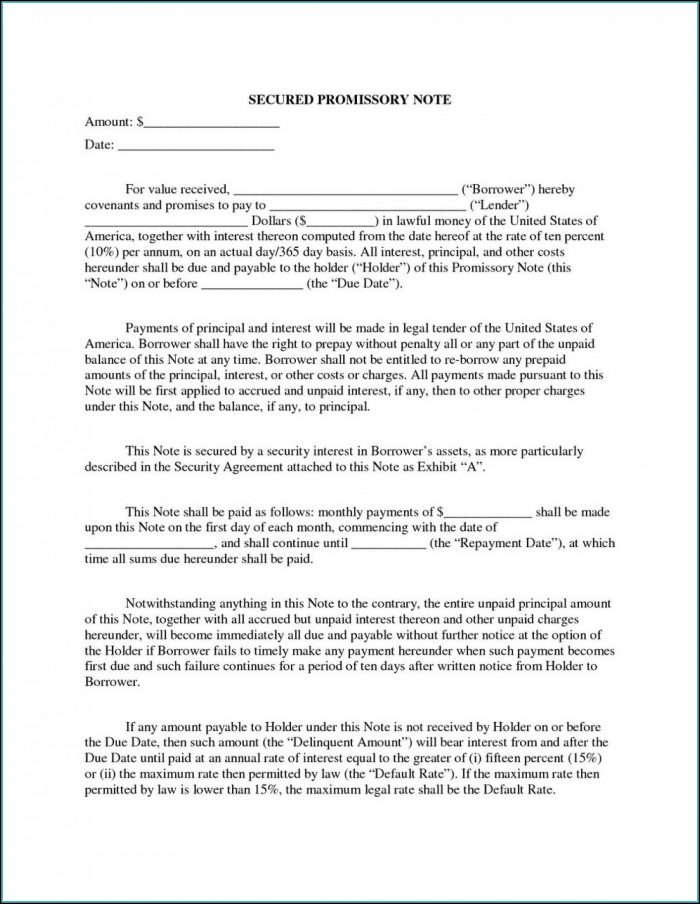 Secured Promissory Note Template Texas