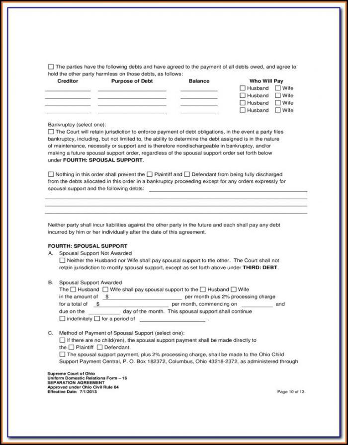 Separation Agreement Form Ohio