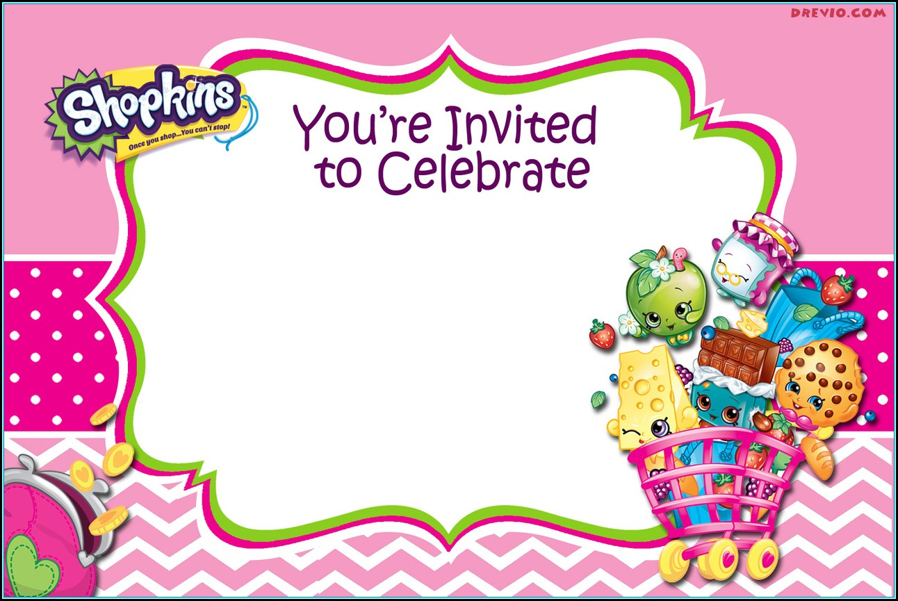 Shopkins Birthday Invitations Templates