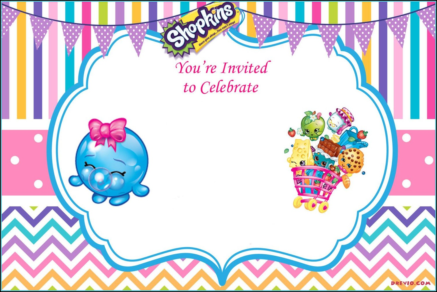 Shopkins Online Invitation Template
