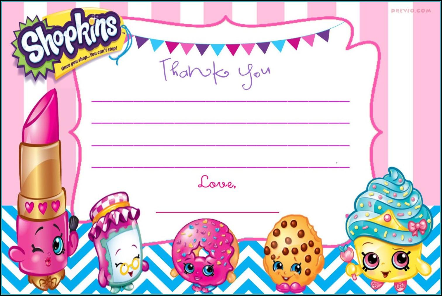Shopkins Party Invitations Template