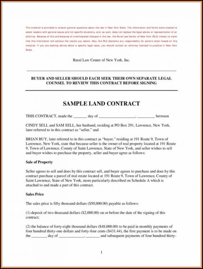 Simple Land Contract Form Michigan