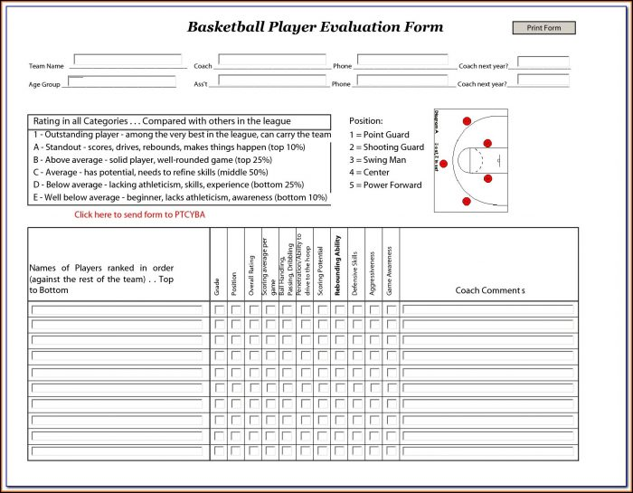 Soccer Tryout Evaluation Form