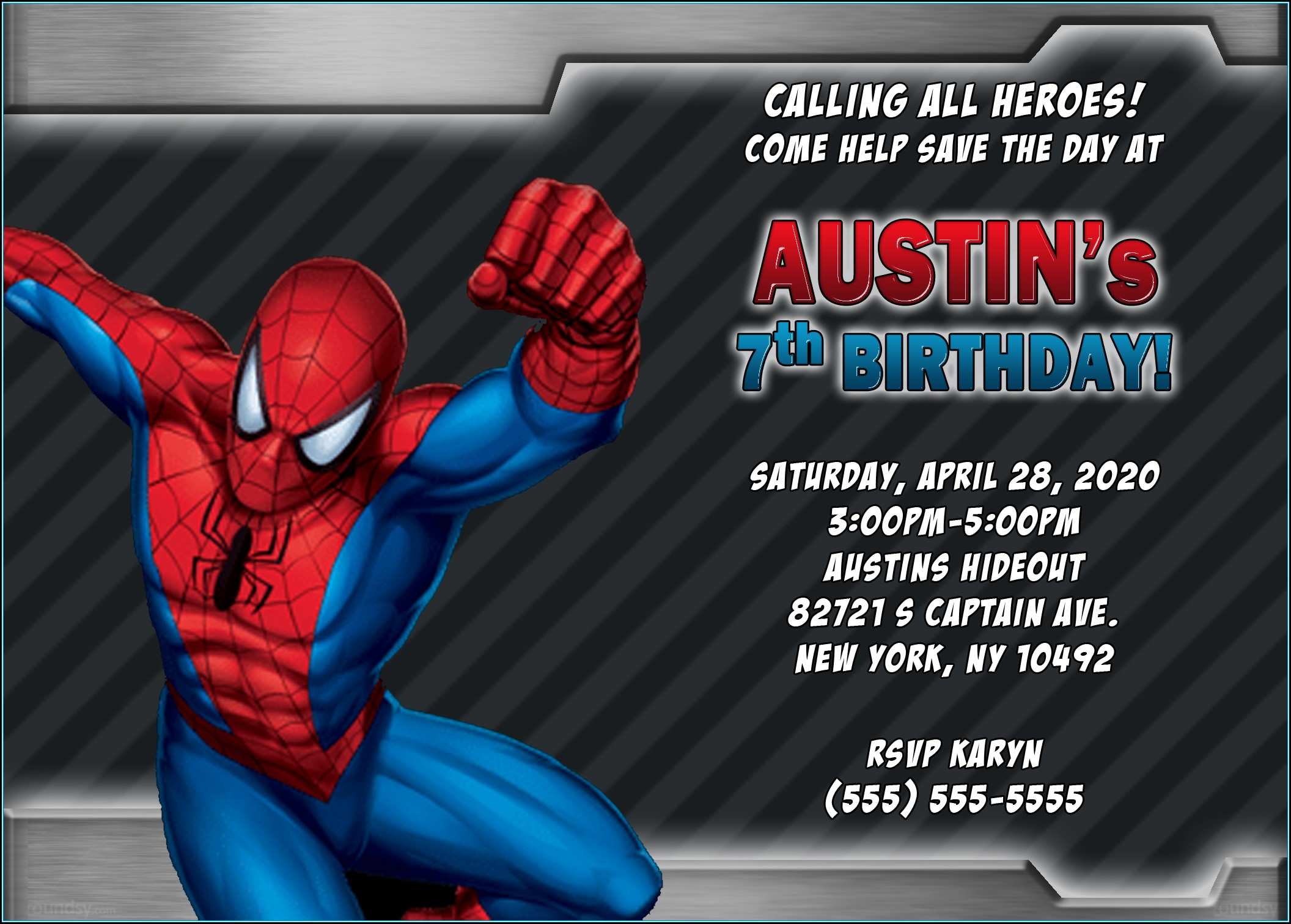 Spiderman Invitation Card Template