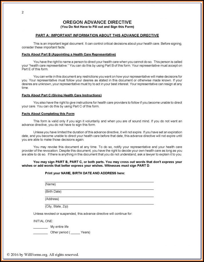 Standard Format For Last Will And Testament Form