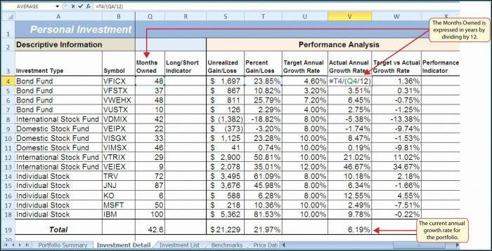 Stock Market Portfolio Excel Template