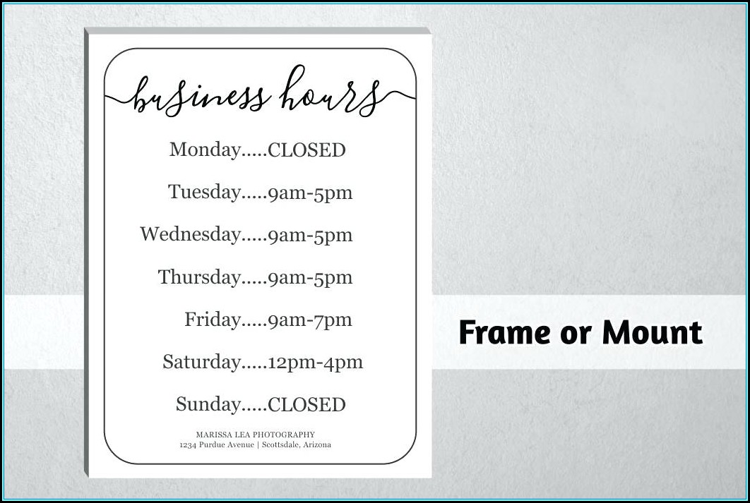 Store Hours Sign Template Pdf