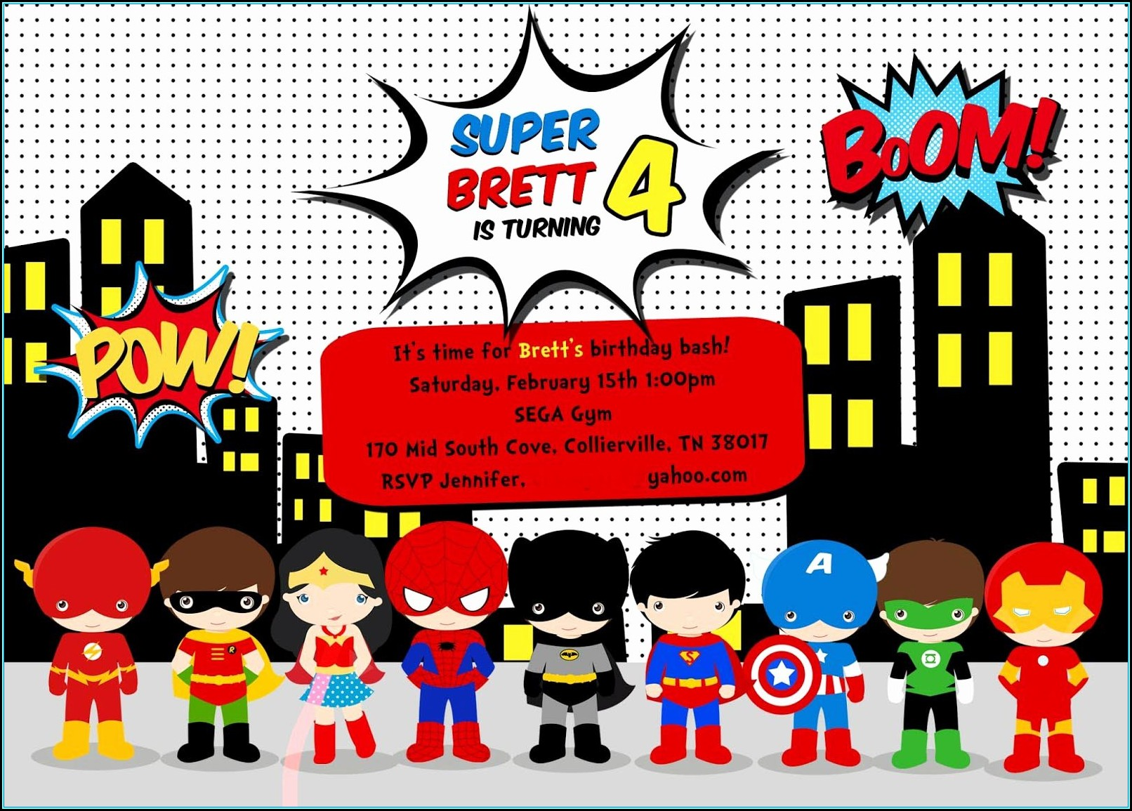 Superhero Birthday Invitation Template Free