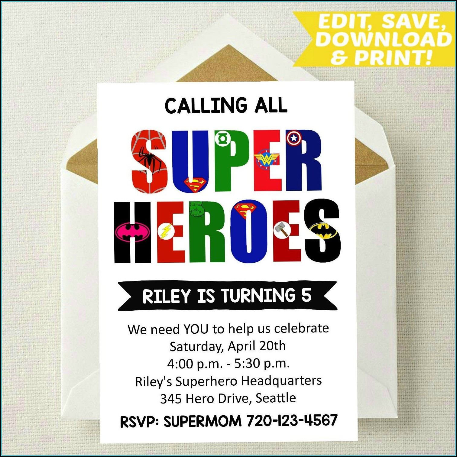 Superhero Invitation Template Download
