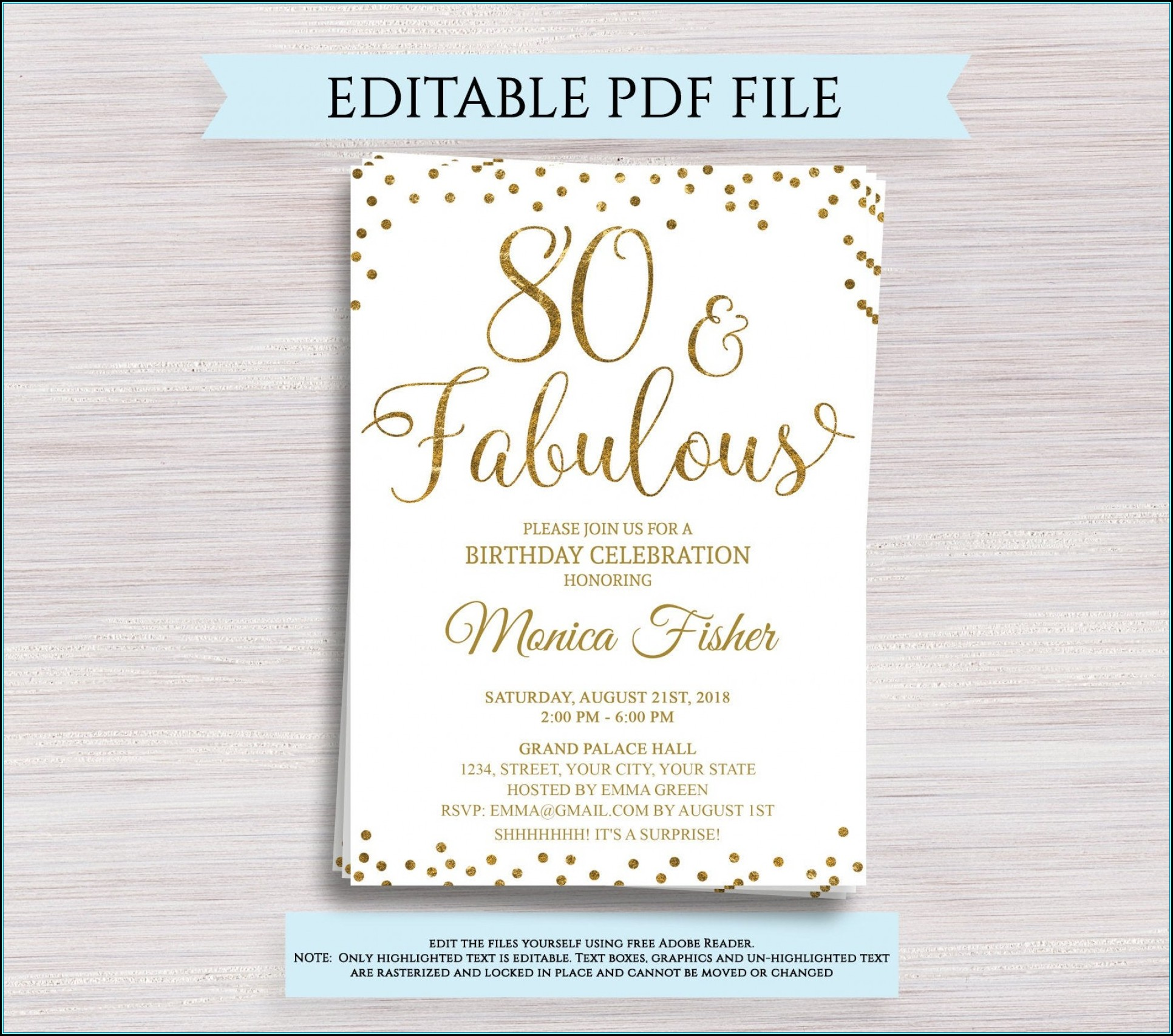 Surprise 80th Birthday Invitation Templates