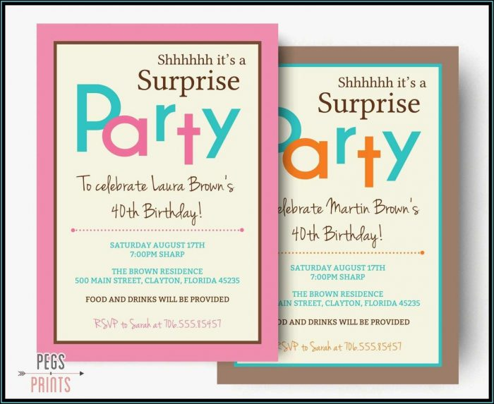 Surprise Party Invitation Samples