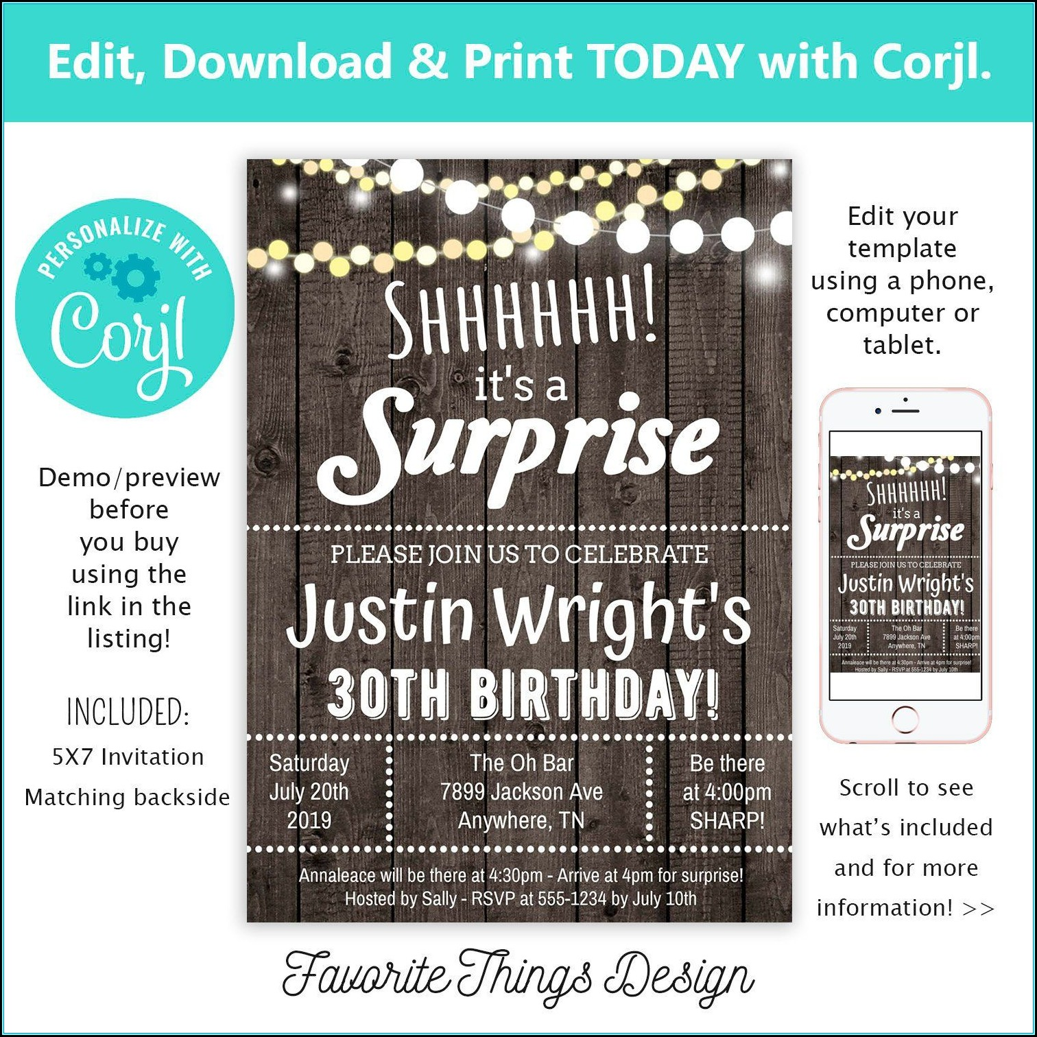 Surprise Party Invitation Template Download