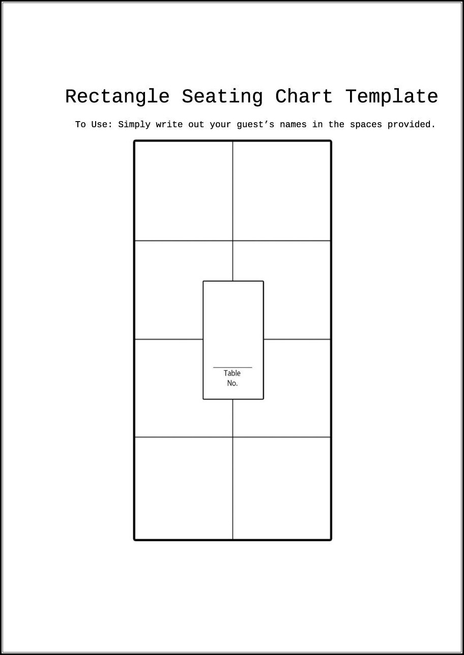 Table Seating Chart Template Word