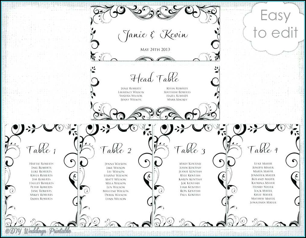 Table Seating Plan Template Word