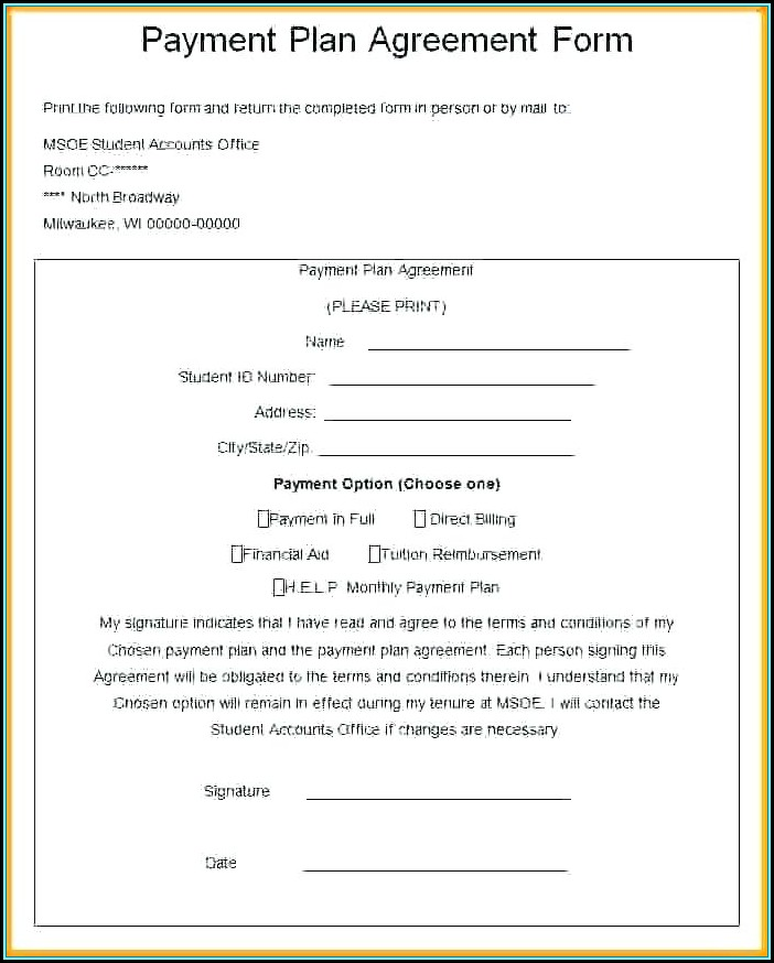 Take Over Car Payment Agreement Form