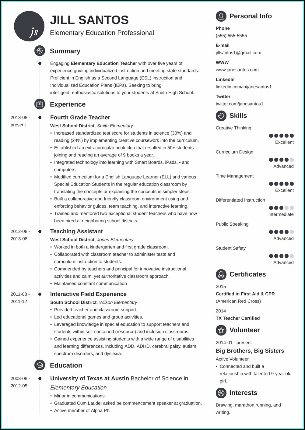 Teachers Resume Templates