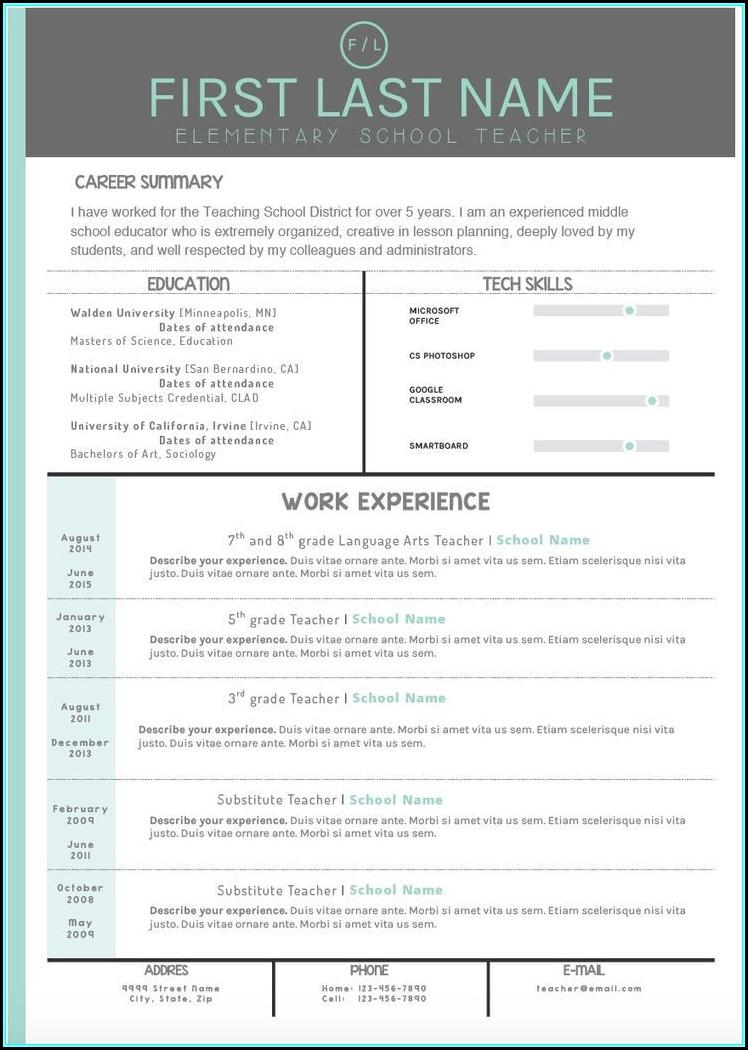 Teaching Resume Templates
