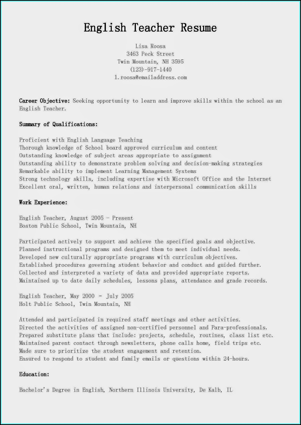 Technical Report Writing Resume
