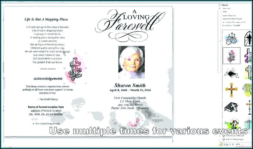 Template For Obituary Card