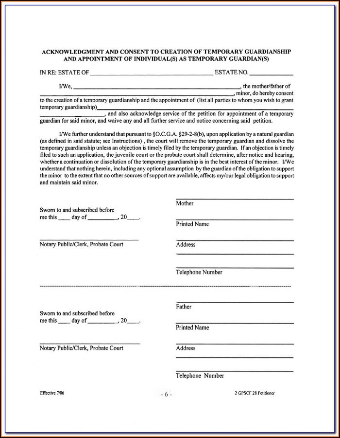 Temporary Guardianship Form Illinois