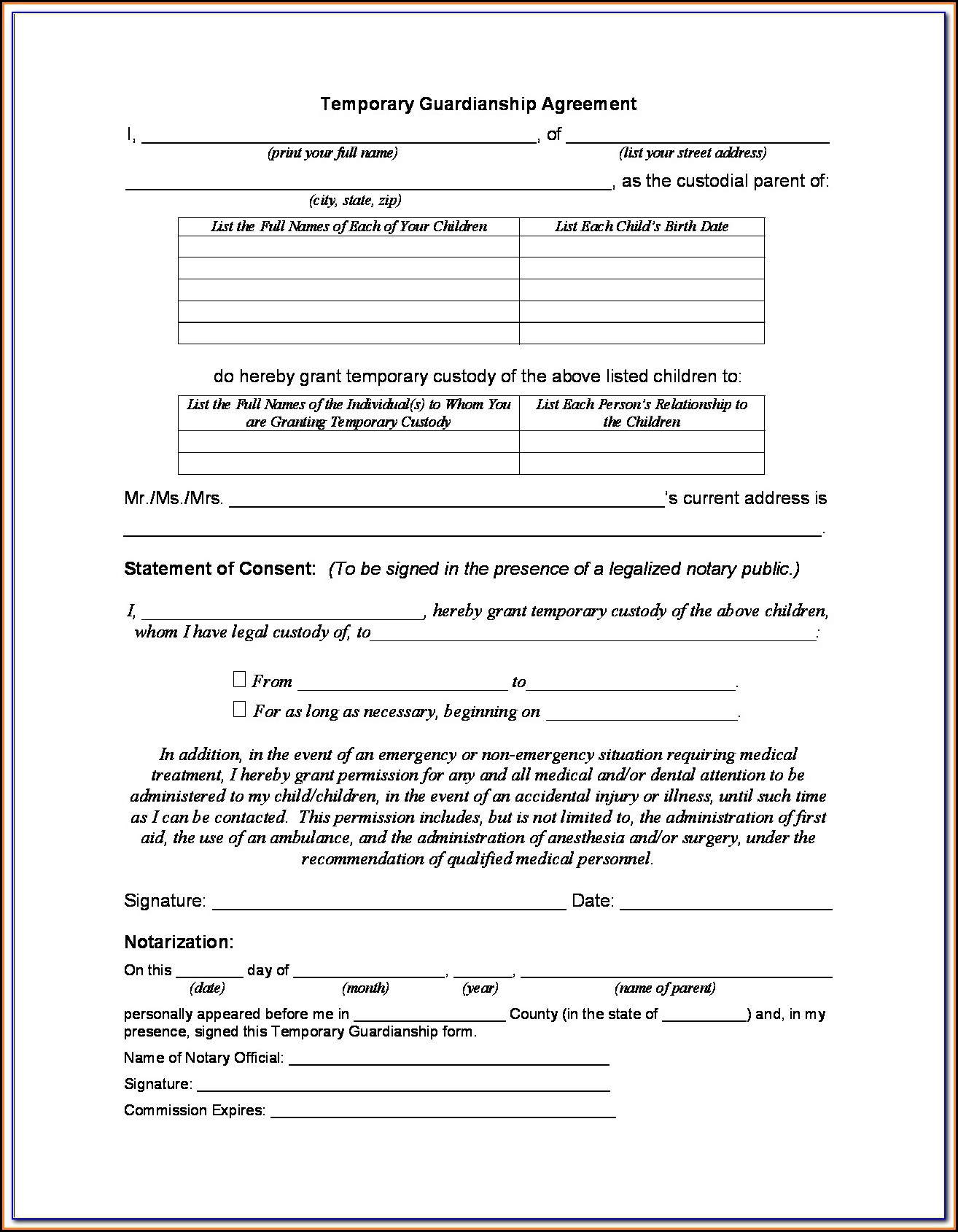 Temporary Guardianship Of A Minor Form Illinois