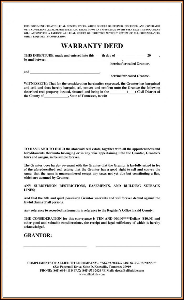 Texas Real Estate Warranty Deed Form