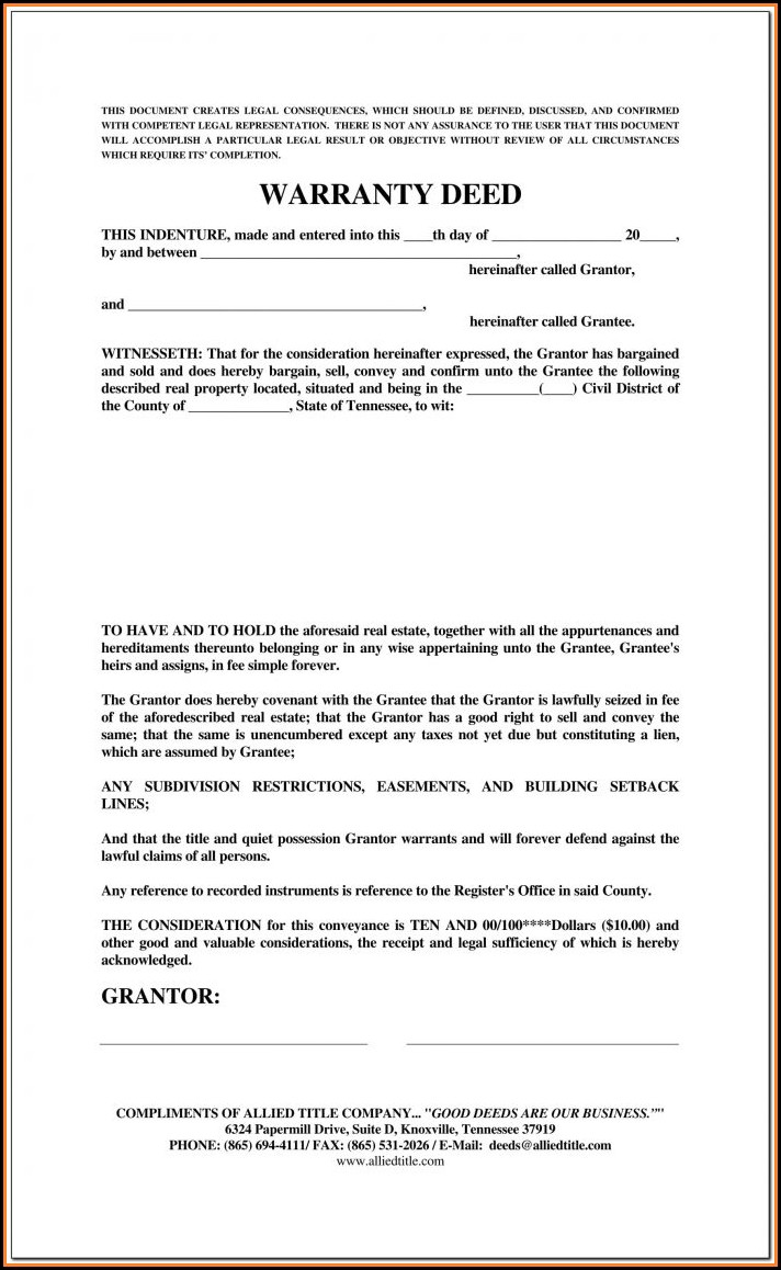 Texas Real Estate Warranty Deed Form