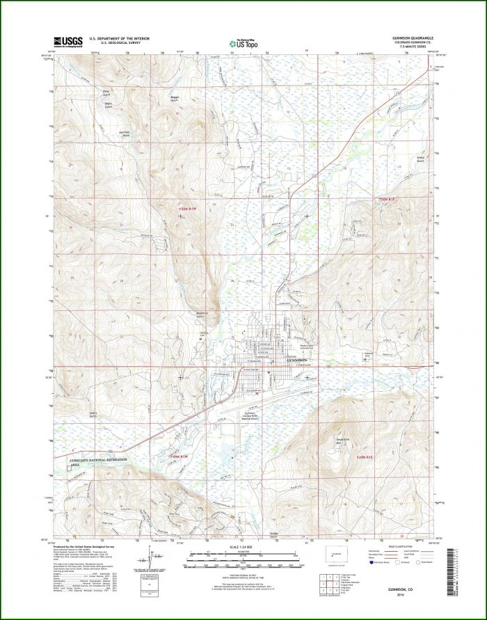Topo Map Gunnison Colorado