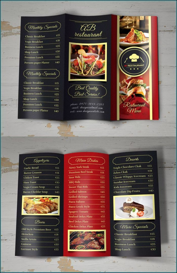 Trifold Menu Template Psd