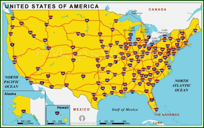 Us Map With Interstates And Highways