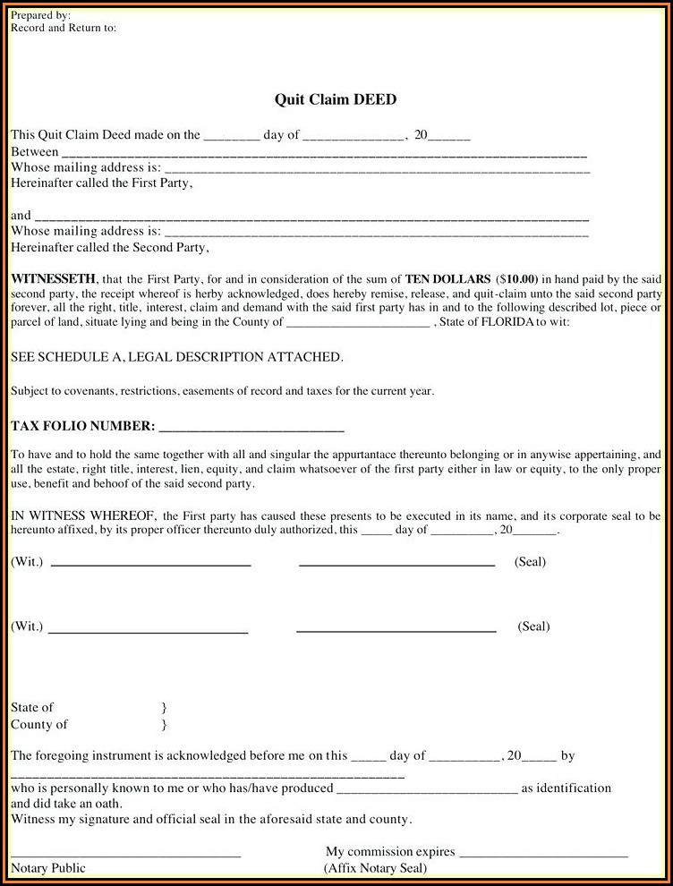 Volusia County Quit Claim Deed Form