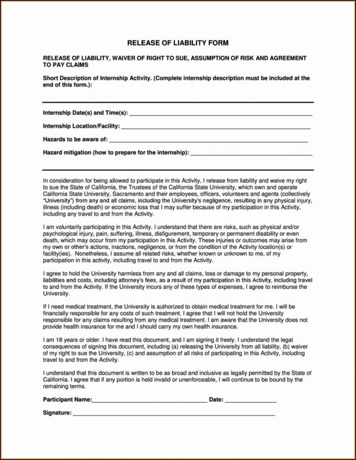 Waiver Form Template For Sports