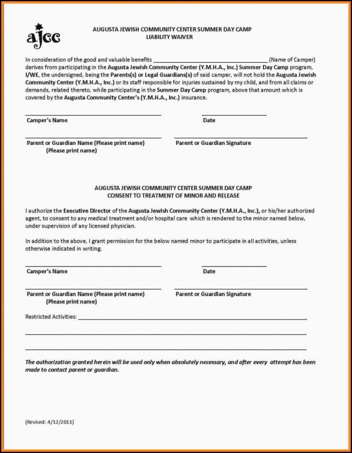Waiver Form Template For Sports Australia