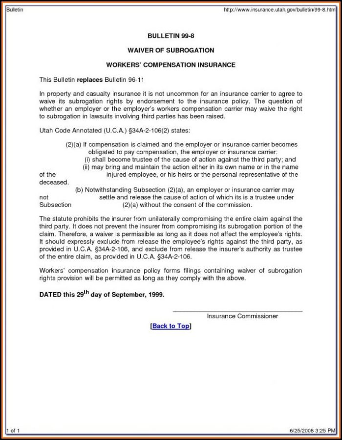 Waiver Of Subrogation Endorsement Workers Compensation