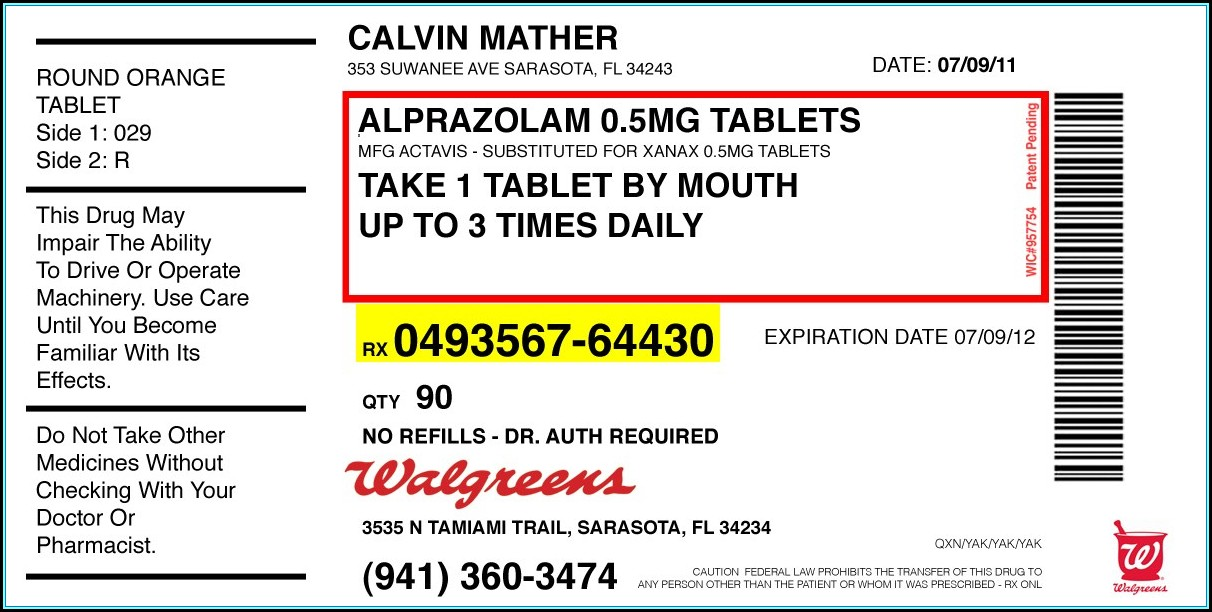 Walgreens Prescription Bottle Label Template