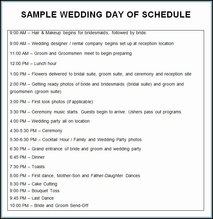 Wedding Day Itinerary Samples