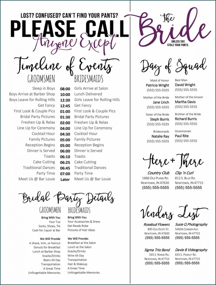 Wedding Day Itinerary Template For Guests
