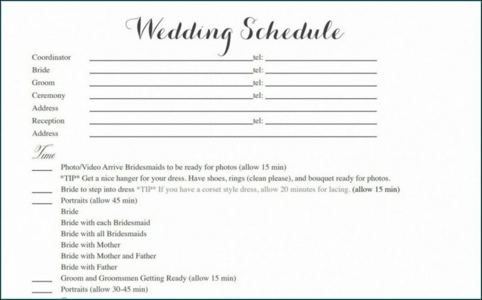 Wedding Day Itinerary Template Word