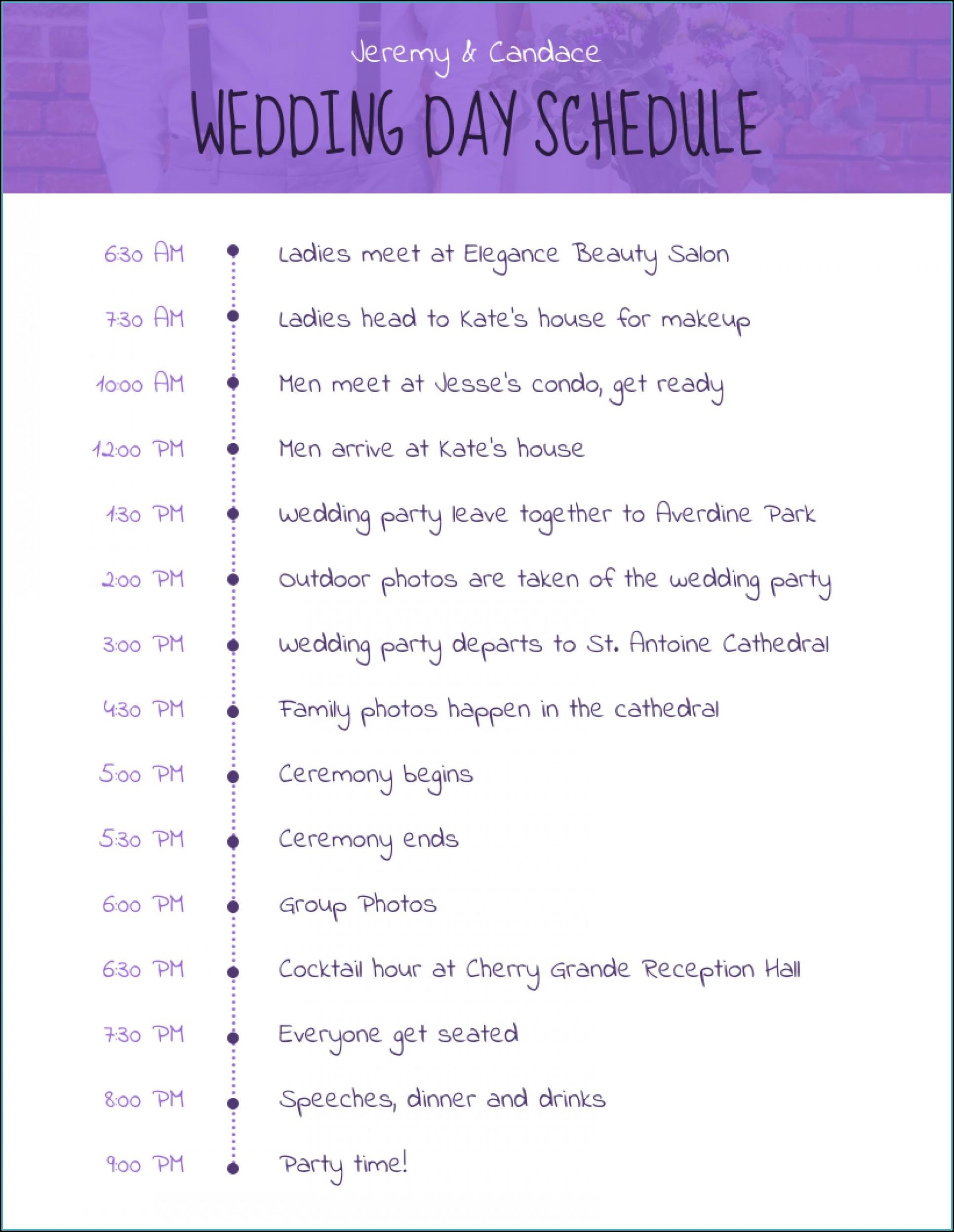 Wedding Day Schedules Templates